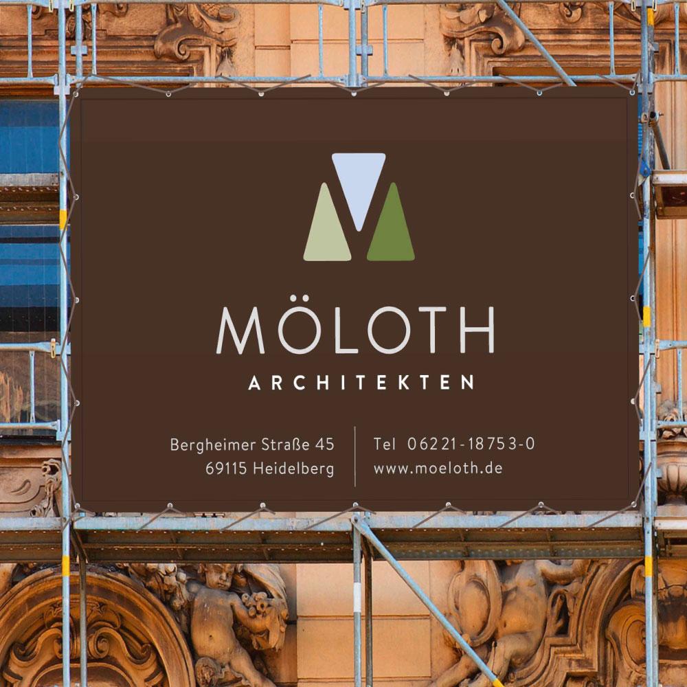 Corporate Design für Möloth Architekten eine professionelle Firmenkommunikation am Baugerüst