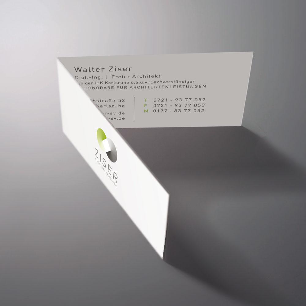 Design der Visitenkarten für den Markenauftritt von Ziser Sachverständiger