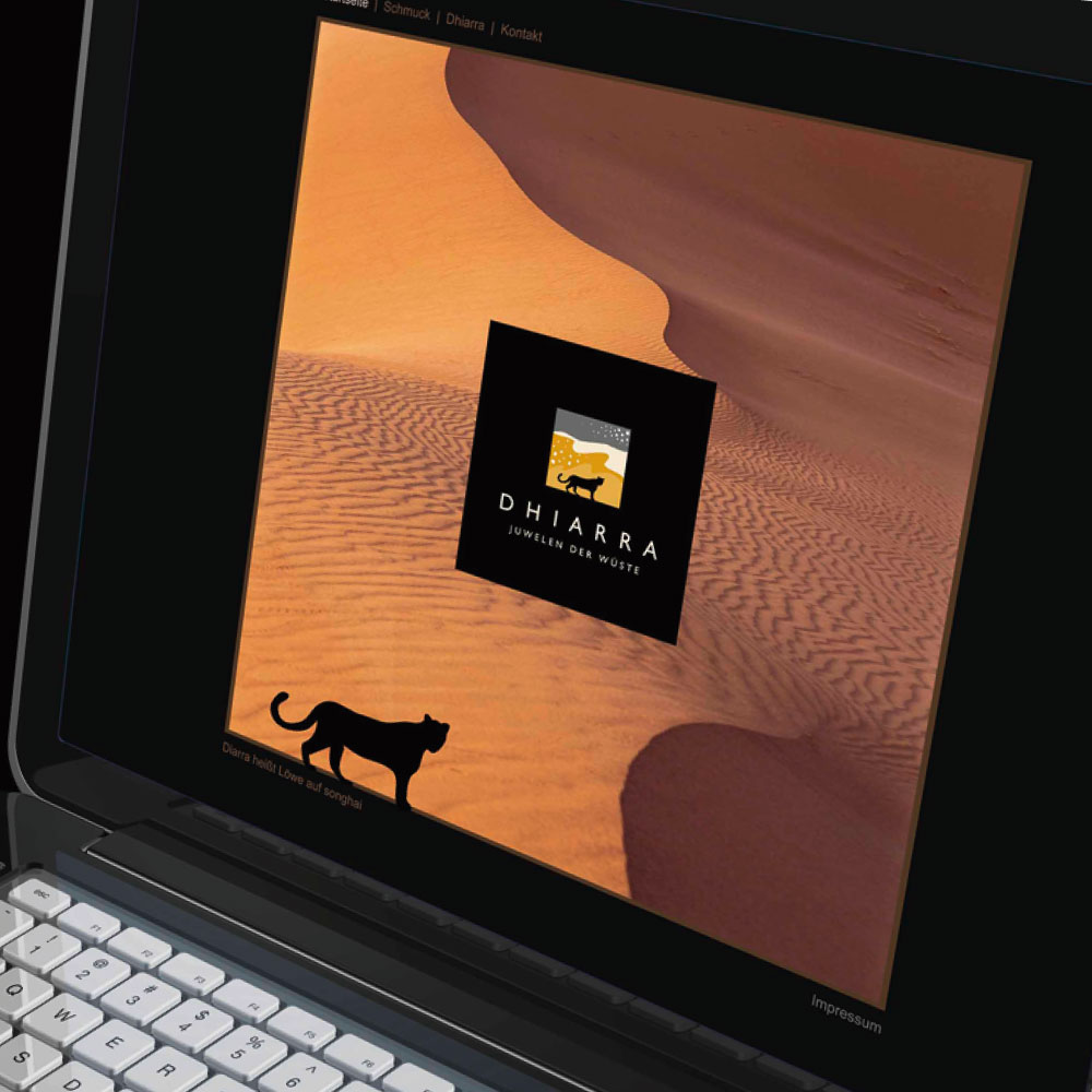 Webdesign für das Corporate Design der Schmuckfirma Dhiarra