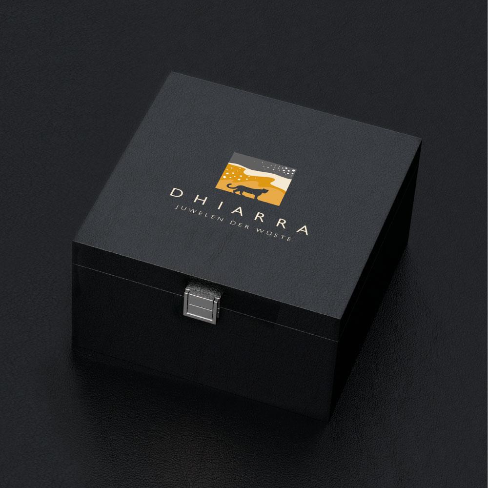 Corporate Design Verpackungsdesign für die Schmuckschachtel von Dhiarra Juwelen