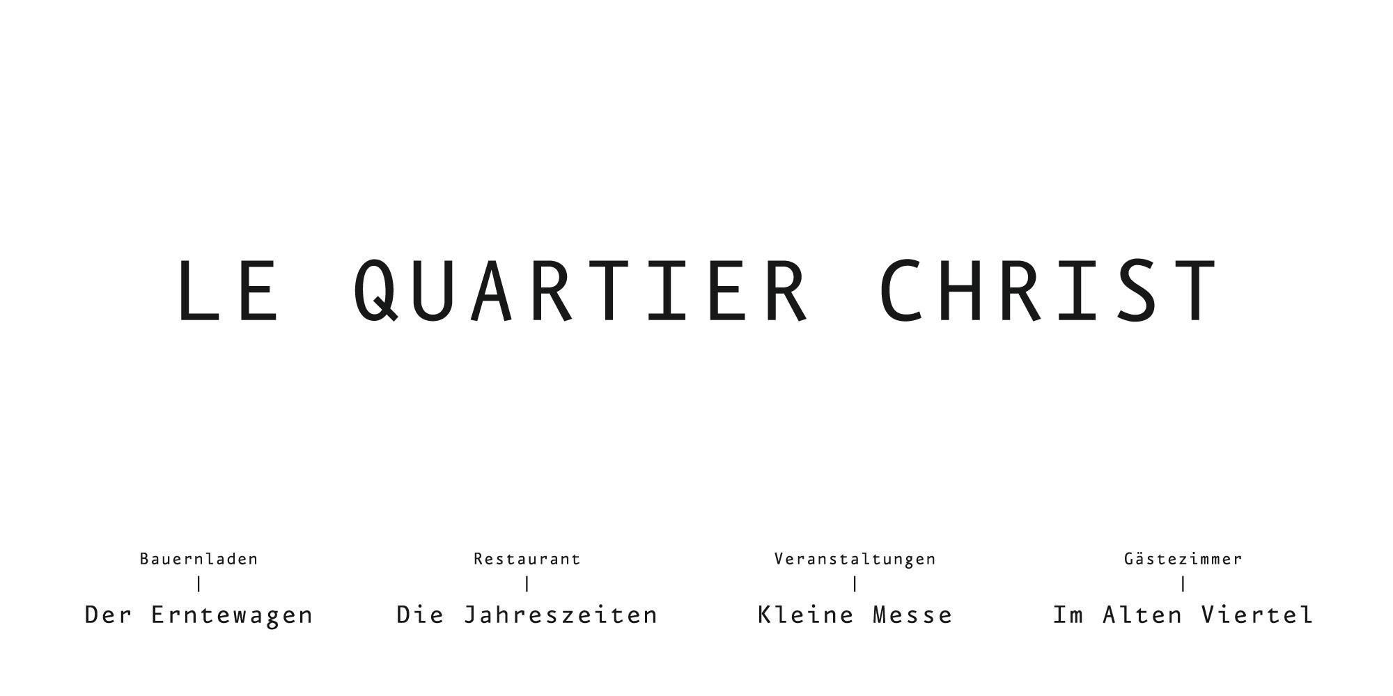 Namenssysteme Produktnamen für Le Quartier Christ