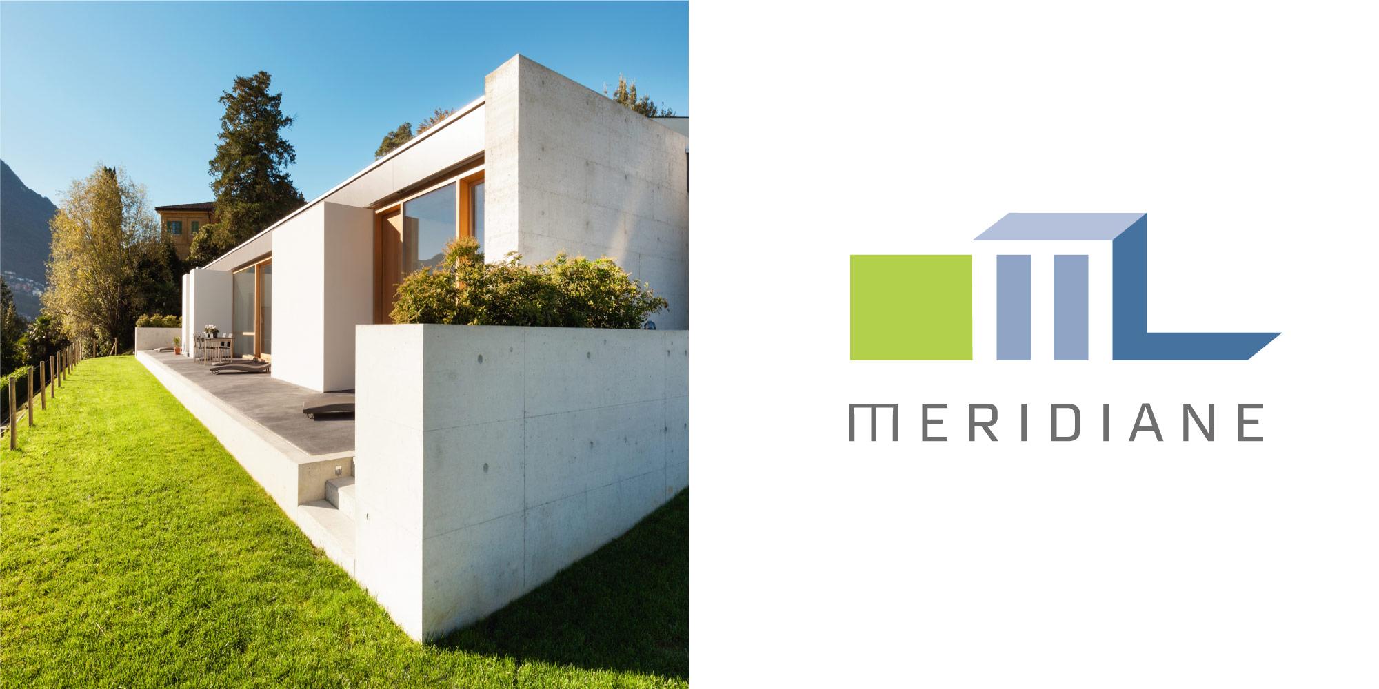Unternehmensmarken MERIDIANE Logoerstellung für Bauunternehmen